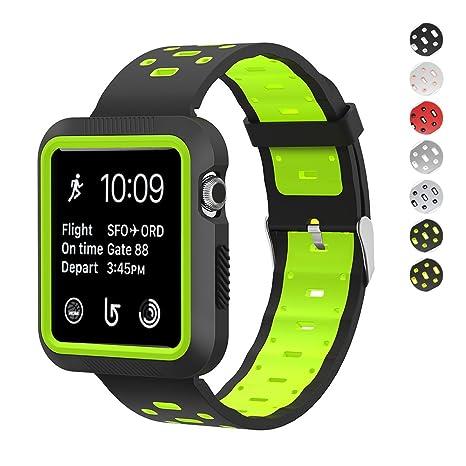 7 colores para Apple Watch Pulsera 42 mm 38 mm, Soft Silicona Reloj pulseras de