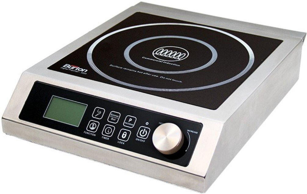 Aervoe Industries 6535 Max Burton Digital ProChef-3000 Induction Cooktop, Stainless-steel body, Larger 9'' coil to handle larger cookware, 10 temperature levels (100° - 464°F)