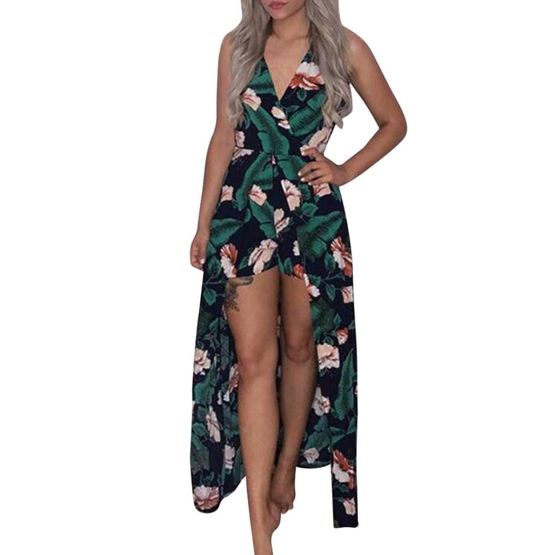 cdd16ba90e Damen Jumpsuits , Frashing Frauen Boho trägerlosen Overall Printing  Playsuit Kleid Sommer Strand Strampler Elegant V