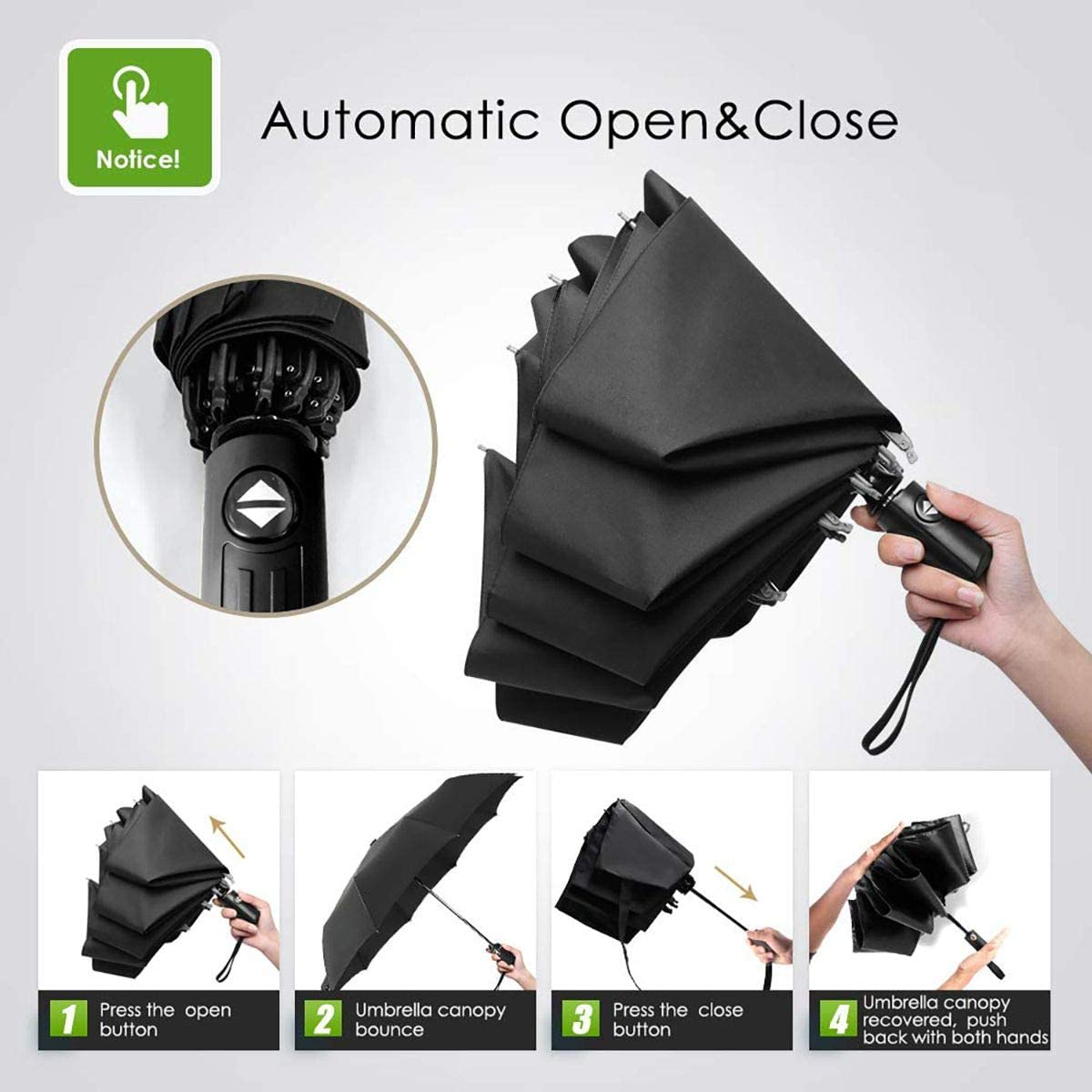 Peace Love World Automatic Folding Umbrella Sunshade Tri-fold Rain Umbrella