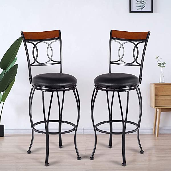 Bar Stool, GentleShower Set of 2 PU Leather Swivel Pub Chair Adjustable Height Barstools with Armrest Hydraulic,Footrest for kitchen, home, bars, office etc Black