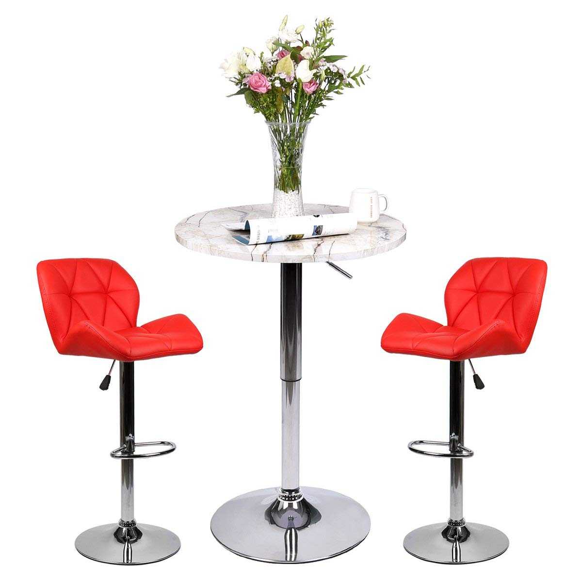 Bar Table Set of 3 – Adjustable Round Table and 2 Swivel Pub Stools for Home Kitchen Bistro, Bars Wine Cabinets (Set 8.1.1)