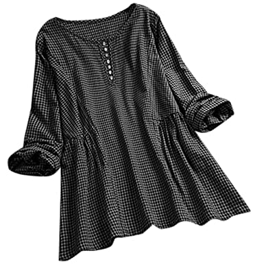 31fcf6802fc Women's Vintage Lattice O-Neck Button Long Sleeves Breathable Comfy ...