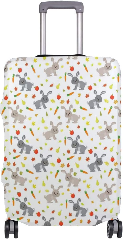 Fashion Travel Cute Rabbits Carrots Gray Bunny Luggage Suitcase Protector Washable Baggage Covers