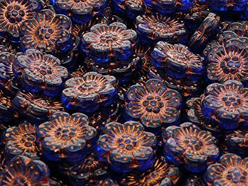 4pcs Flower Beads 14 mm, Czech Glass, Blue Transparent with Bronze Fired -
