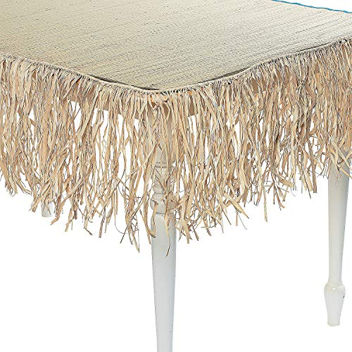 24 Foot Long Tiki Bar Raffia Fringe Skirt - Thatch (1-Pack) ()