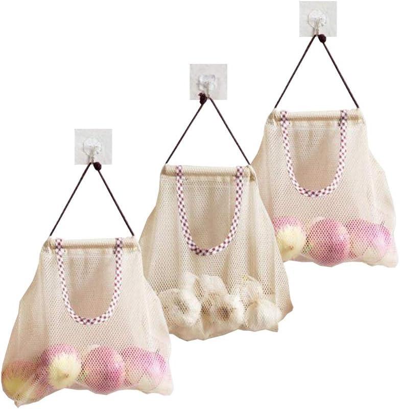 TuuTyss Set of 3 Hanging Reusable Storage Mesh Bag Vegetable Bag for Fruit,Garlics,Potatoes,Onions or Garbage Bag Organizer(3pcs-Beige)
