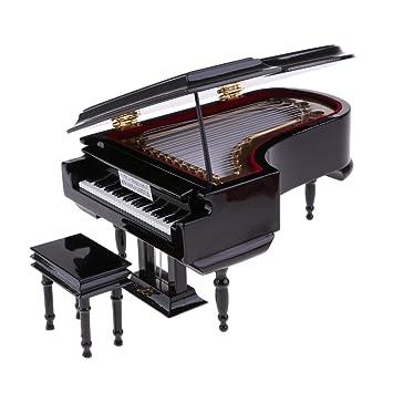 1//6 Miniatur Klavier mit Hocker Modell Spieluhr Musikbox Geschenk für
