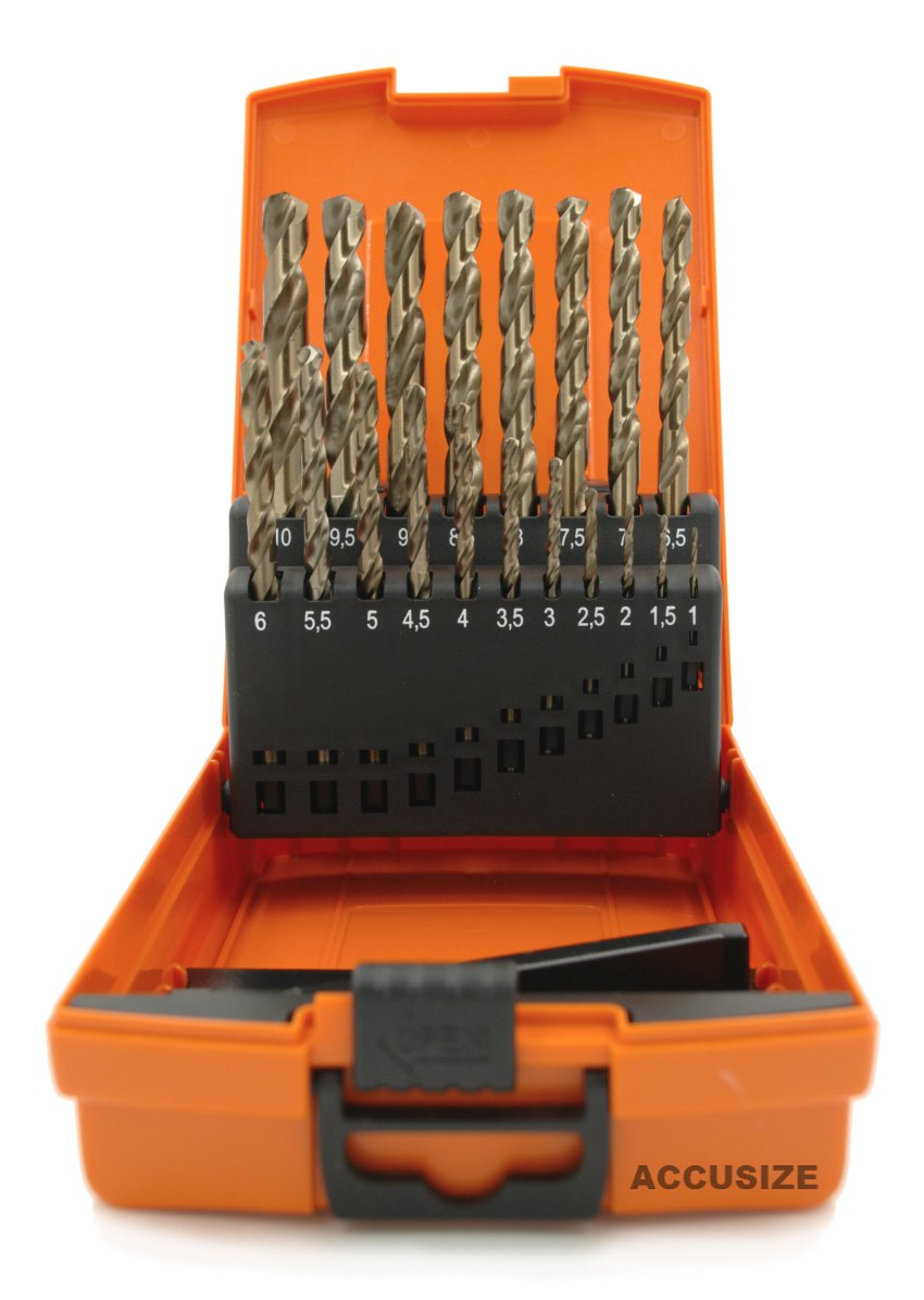 Accusize Industrial Tools M35 H.S.S. plus 5% Cobalt Metric Drill Set, 135 Deg Split Point, 1 to 10mm by 0.5mm in Plastic Box, 3110-1119 by Accusize Industrial Tools