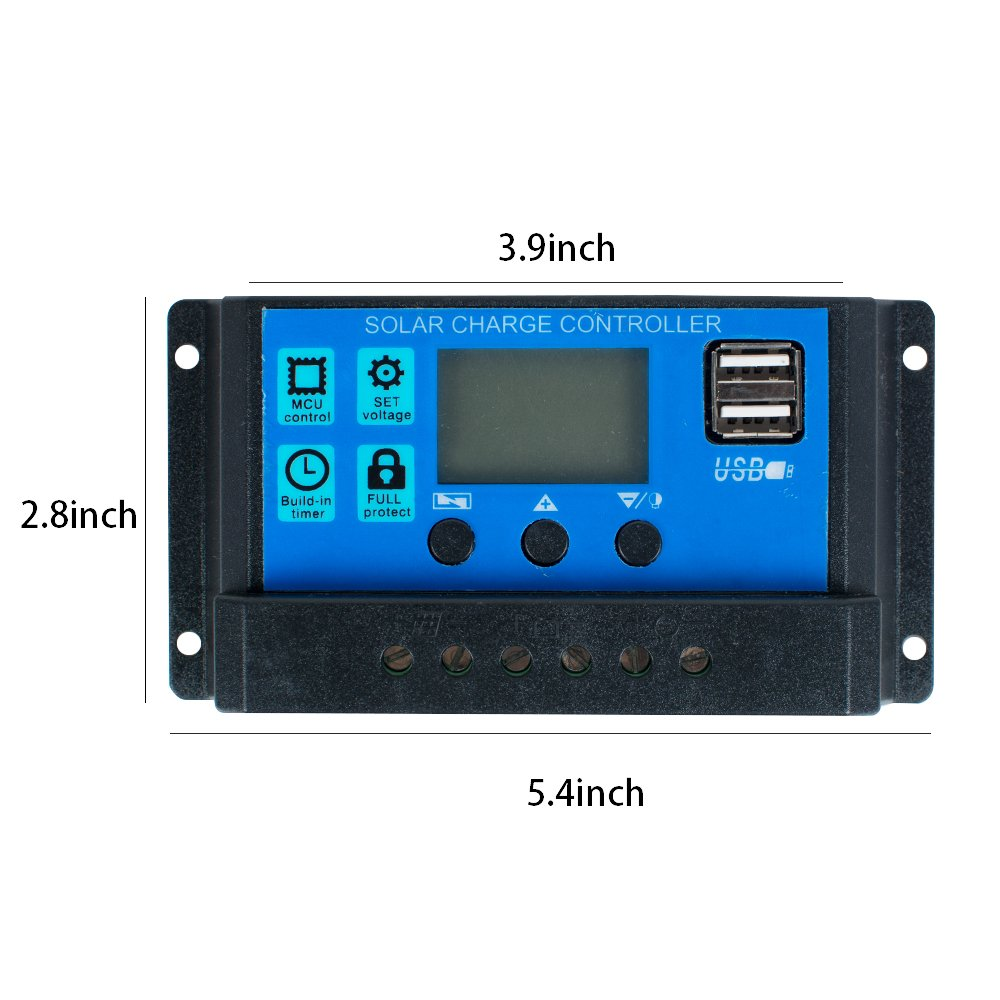 Zorvo LCD Display 30A Solar Charger Controller Solar Panel Battery Intelligent Regulator USB Port for Home Industrial Commercial