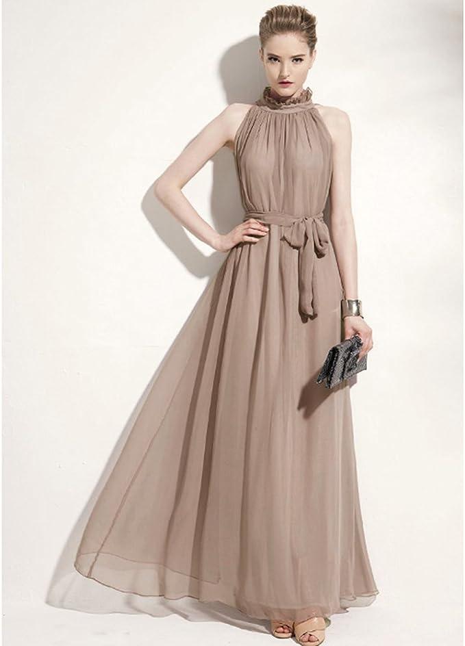 Wuiyepo Elegante Chiffon Ruffle Sleeveless Ausschnitt Abendkleid