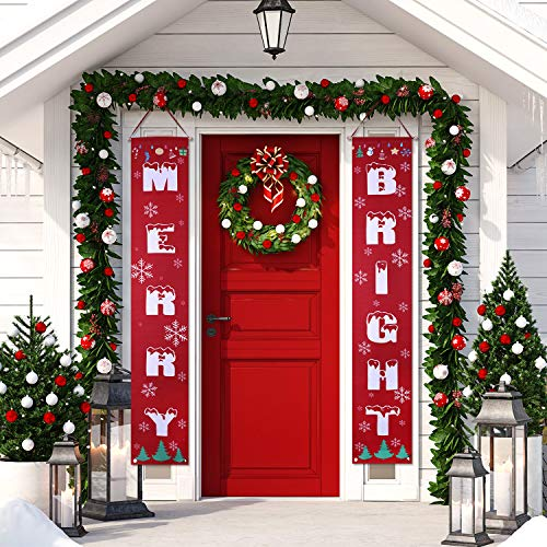 Jovitec Christmas Porch Sign Merry Bright Hanging Signs Banner Outdoor Signs for Home Door Wall Xmas Decoration (Style 3)