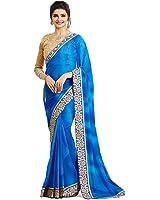 Designer Desk Ethnic Women Saree - Georgette Sari with Embellished Border and Unstitched Blouse