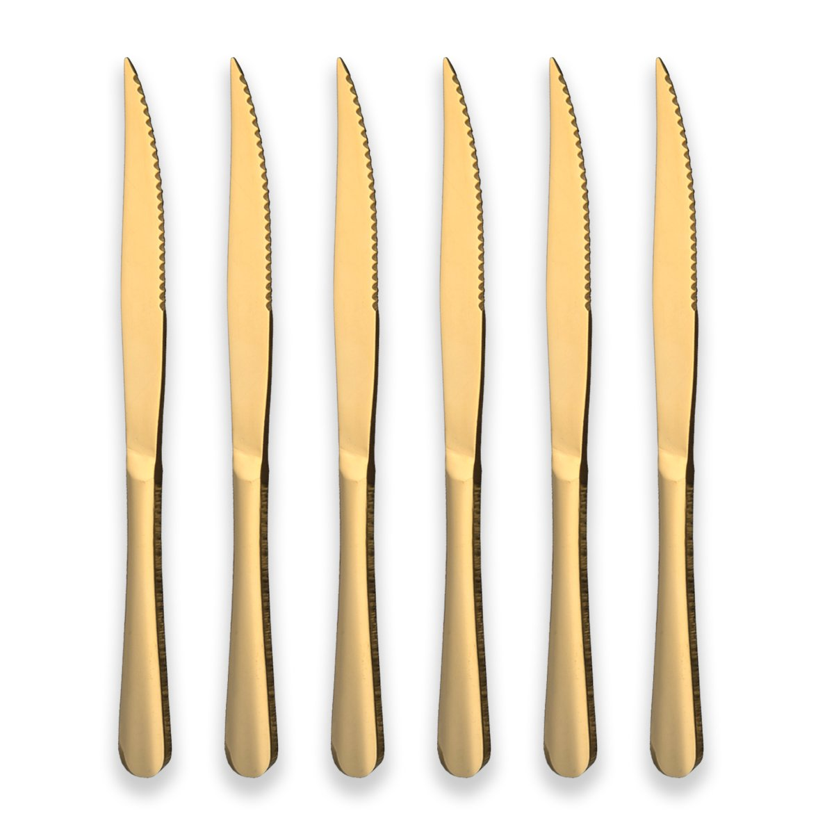 Berglander Titanium Gold Plated Stainless Steel Steak Knives Golden Color Steak Knife Heavy Duty Steak Knife for Chefs Great For BBQ Weddings Dinners Parties Homes Kitchens Pack of 6