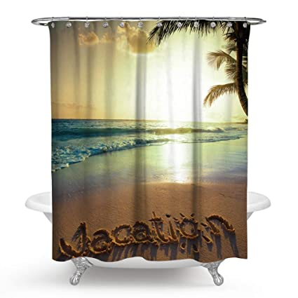 Chengsan Summer Decor Shower CurtainCoastal Beach Ocean Tropical Palm Tree Nature Scenery Sunset Retro