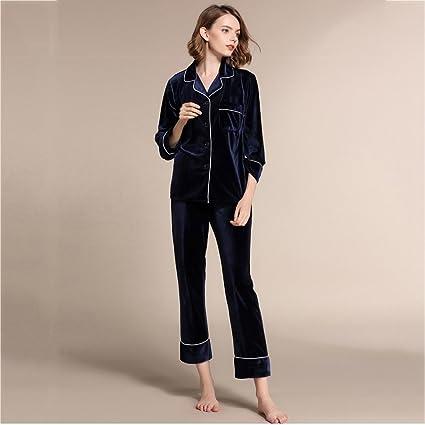 Pijama mujer trajes pijama ropa de calle suelto otoño invierno terciopelo dorado azul oscuro negro (