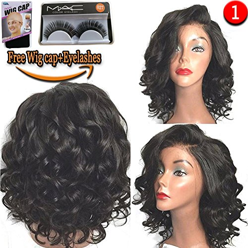 [Wigs Short Bob Glueless Lace Front Wigs L Part Curly Heat Resistant Synthetic Hair Replacement For Women Half Hand Tied] (Milano Anime Costumes)