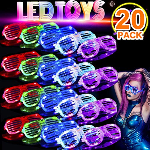 TURNMEON 20 Pack LED Glasses,5 Color Light Up Plastic Shutter Shades Glasses Led Sunglasses for Adults Kids Glow in The Dark Halloween Rave Party Favors Supplies Birthday Back to School Glow Toys