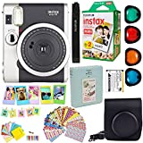 Fujifilm Instax Mini 90 Neo Classic Instant Film Camera (Black) + Fuji Instax Film Twin Pack (20PK) + Accessories Kit / Bundle + Fitted Case + 4 Filter Lens + Frames + Photo Album + MORE