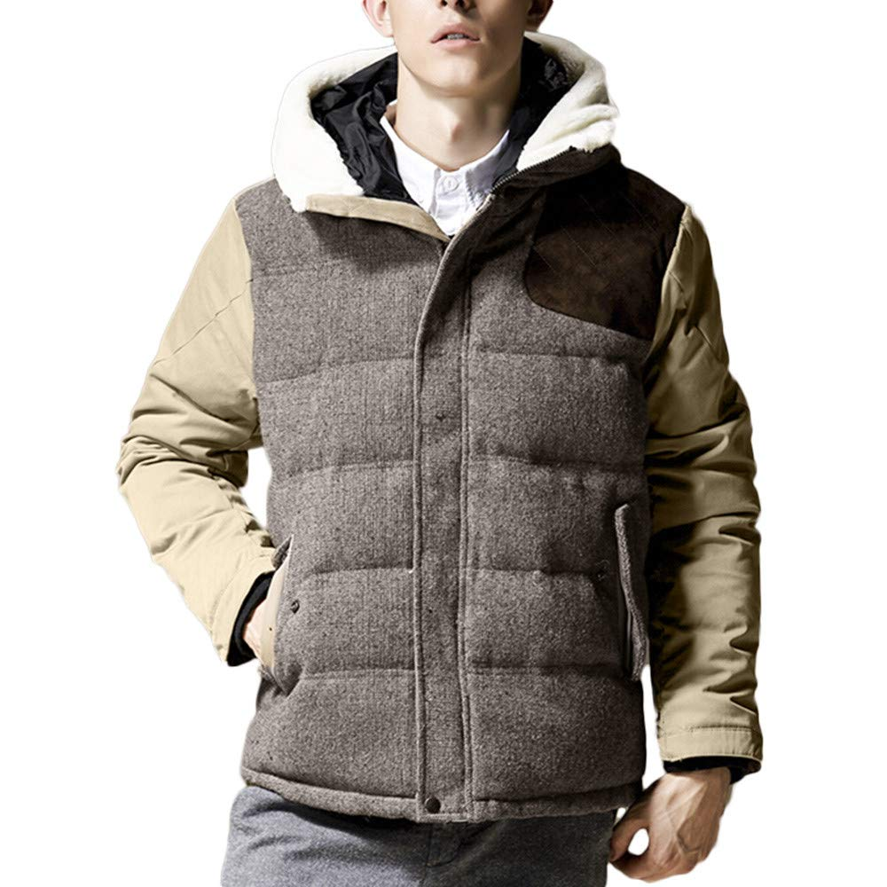 Men Winter Coat Sale Warm Hooded Zipped Thick Solid Fleece Cotton-Padded Jacket