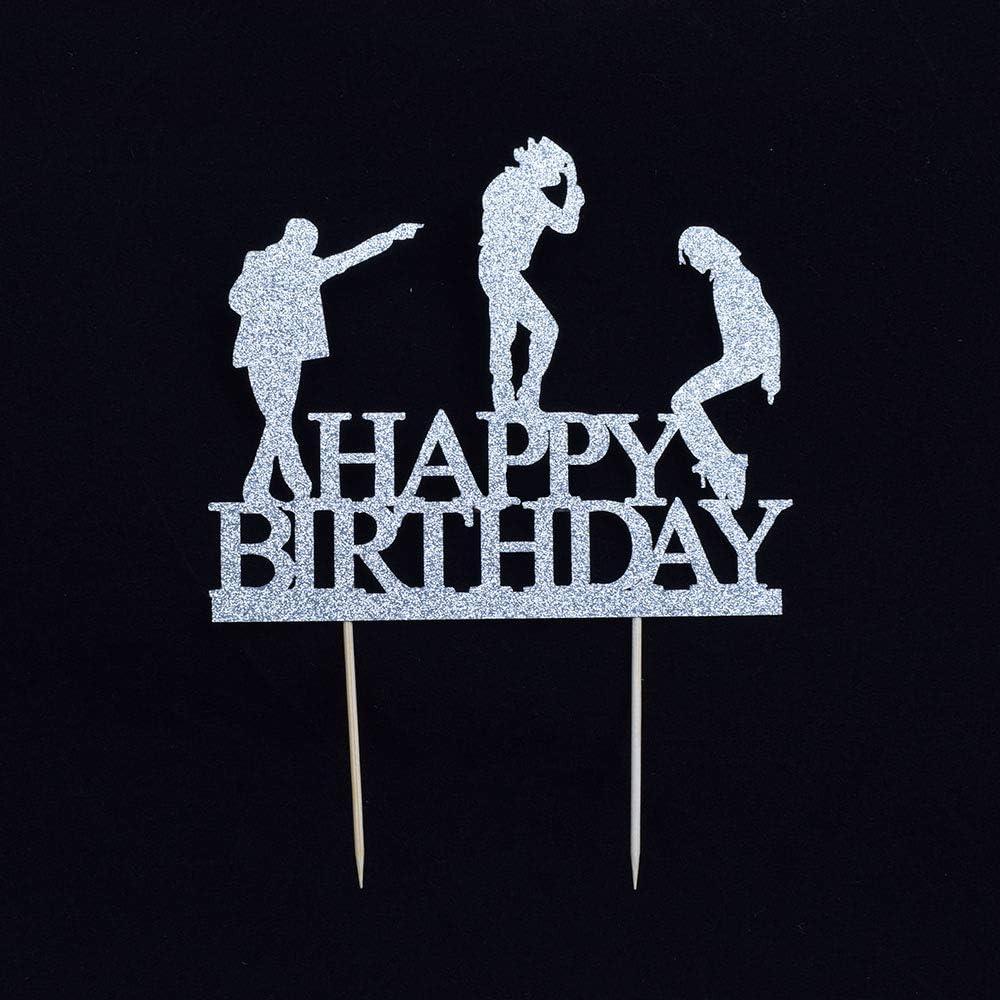 YUINYO Purple Glitter Happy Birthday Cake Topper Dance Cake Toppers Happy Birthday Cake Bunting Birthday Party Decoration Supplies