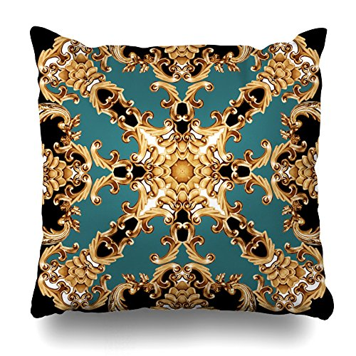ONELZ Golden Baroque Ornament Square Decorative Throw Pillowcase Two Sides Printed, Fashion Style Zippered Cushion Pillow Cover(18 x 18 inch) - 50 Baroque Chain Golden