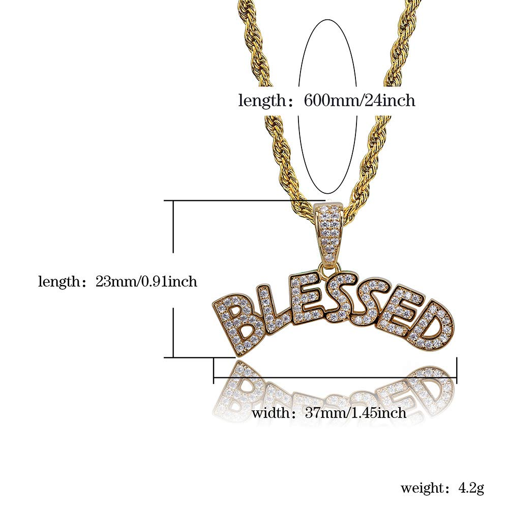 35d9eaa9e HECHUANG Micropave Simulated Diamond Iced Out Custom Bubble Letters Blessed Initial  Pendant with Rope Chain Hip Hop Necklace (Gold, 24)   Amazon.com