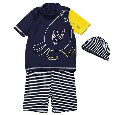 88672cd0650f87 Amazon | Teddy キッズ 水着 男の子 セパレート 半袖 ハーフパンツ スイムキャップ 3点セット UPF50+ 日焼け対策  kids262 | 水着 通販