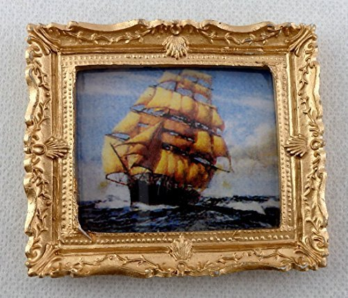 Melody Jane Dolls Houses House Miniature Accessory Clipper At Sea Picture Painting Gold Frame