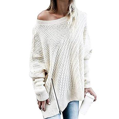63cb4ba1ffe15 Belgius Women Oversized Sweaters Knit Off Shoulder Batwing Sleeve Loose  Zipper Jumper Top Beige S