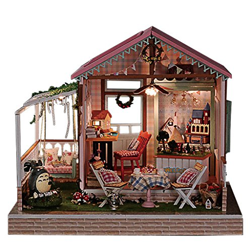 Rylai 3D Puzzles Wooden Handmade Miniature Dollhouse DIY Kit w/ Light -Dreamland Series Dollhouses Accessories Dolls Houses with Furniture & LED & Music Box Best Xmas Gift for Women and Girls