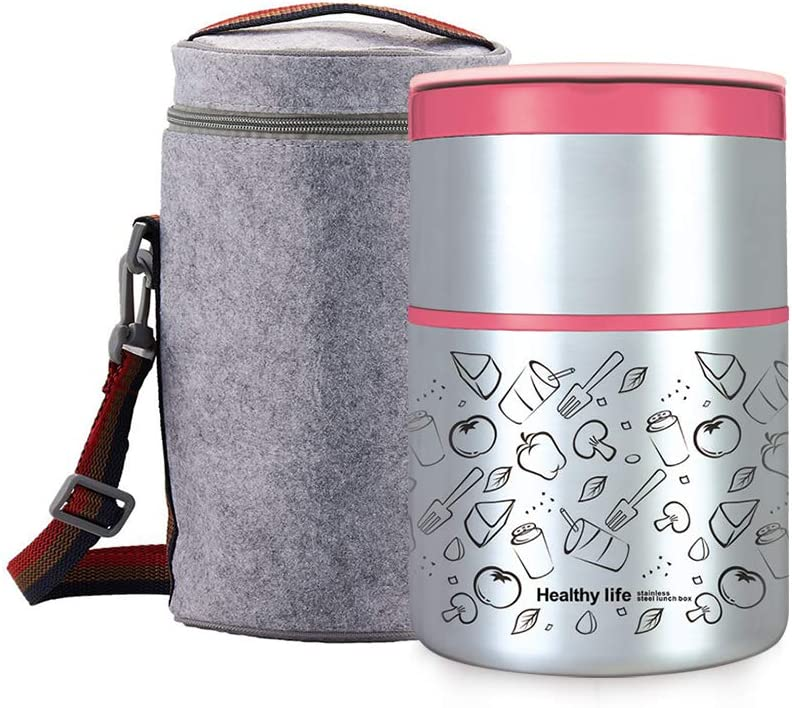 Lille Home 32OZ Vacuum Insulated Stackable Stainless Steel Thermal Lunch box | 2-Tier Bento box/Food Container with Insulated Lunch bag | BPA Free | Leakproof | Adults, Men, Women (pink)