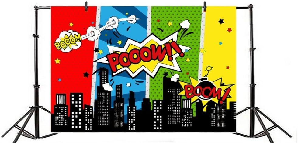 YongFoto 2,2x1,5m Vinile Sfondo Fotografico Boom Super City Cartoon Costruzione moderna Stelle scintillanti Sognante Fondale Foto Festa Bambini Boby Partito Studio Fotografico Puntelli