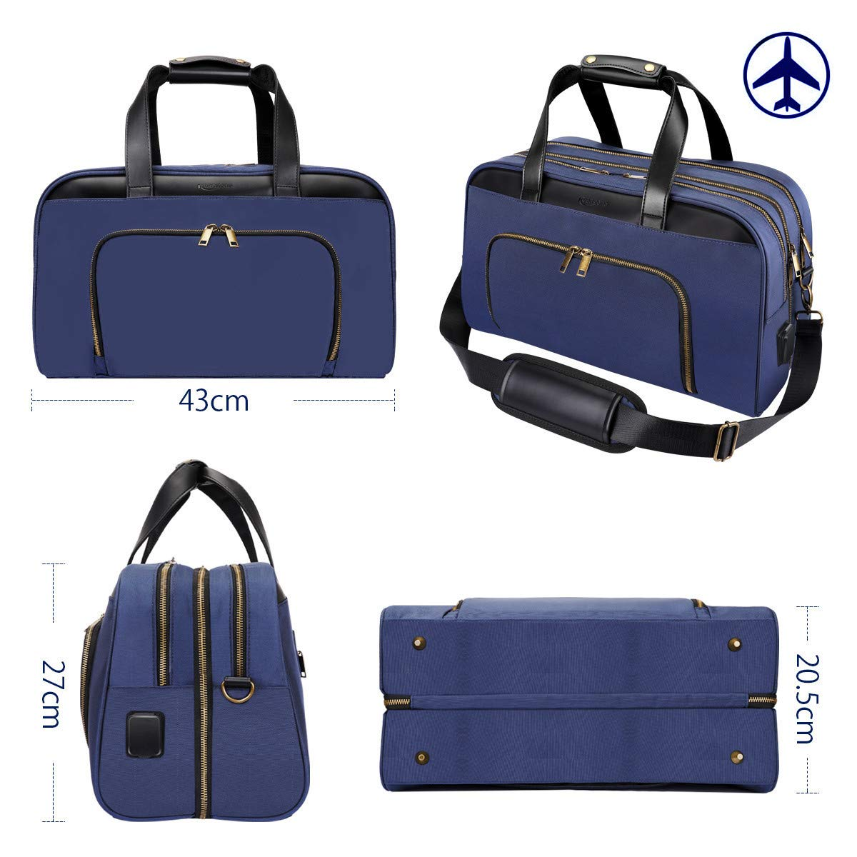 Keenstone Travel Bag 35L wasserdicht mit USB-Business-Tasche Pendler Schulreisen Geschäftsreisen PC-kompatibel (Blau)