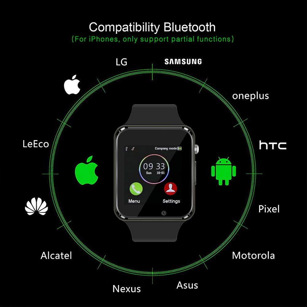Smart Watch Bluetooth Fitness Tracker, Qidoou Android iOS Compatible Smartwatch of SIM SD Card Slot, Waterproof Pedometer Sleep Calorie Monitor Call/Message Music Clock for Kids Men Women (Black) by Qidoou (Image #5)