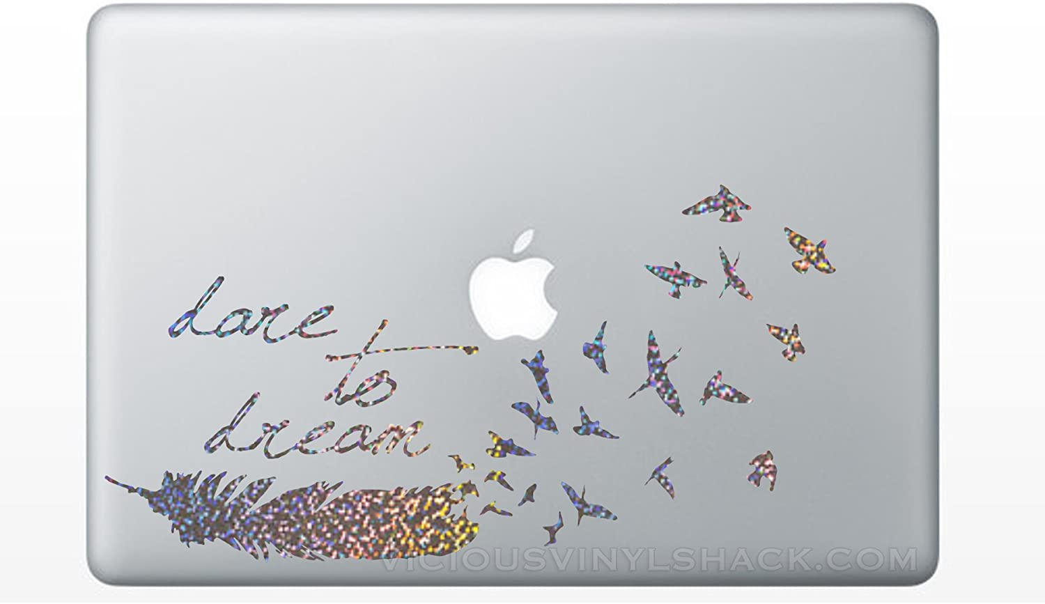 SILVER SPARKLES Dare to Dream Feather Turning into a Flock of Birds Quote Vinyl Decal Stickers for MacBook Laptop Car Love Forever Birds Always Relationships Feathers Peace Tough Strength Strong Strength Hope Inspiration Dreamer Love Bird Flying Glitter Shiny