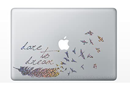 SILVER SPARKLES Dare To Dream Feather Turning Into A Flock Of Birds Quote  Vinyl Decal Stickers