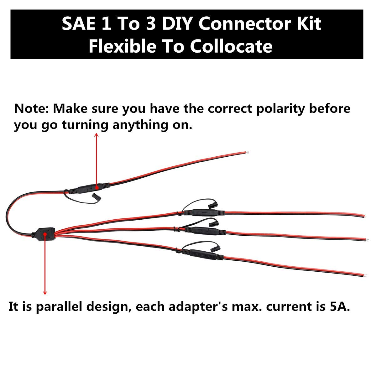 SAE Power Extension Cable Y Splitter 1 to 3 Connector With Dust Cap And 4  Pcs 2 Pin Quick Disconnect