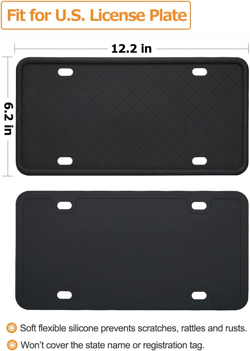 anngrowy License Plate Frame Silicone License Plate Frame Car Plate Frame Universal License Plate Holder Cover Front Rear Tag Holder with 6 Drainage Holes Rust-Proof Rattle-Proof Anti-Impact