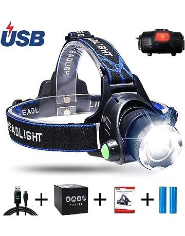 AUKELLY LED Linterna Frontal Recargable Linternas Frontales Alta Potencia,LED Lámpara de Cabeza 3 Modos