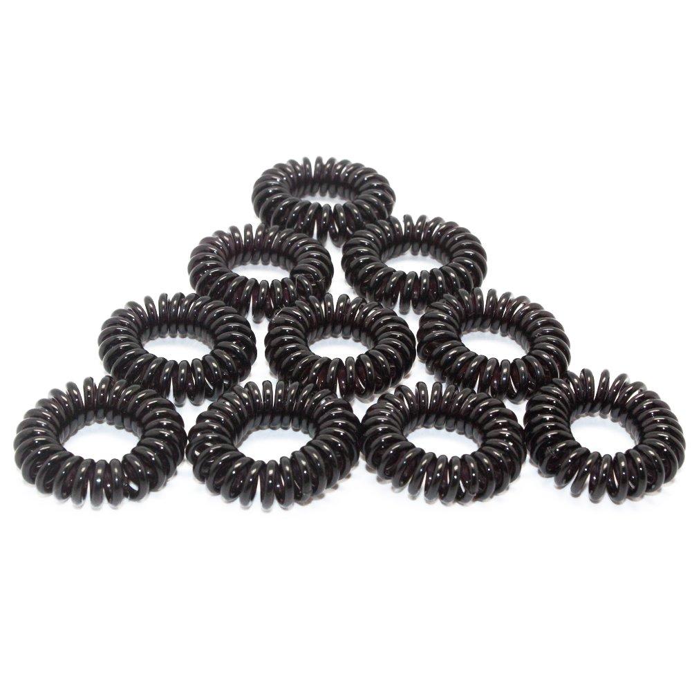 Homgaty 10pcs Baby Girl Spiral Hair Bobbles Bands Mini Ponytail Stretchy Hair Ties (black)