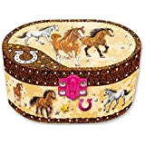 Hot Focus Dashing Horse Oval Shaped Musical Jewelry Box