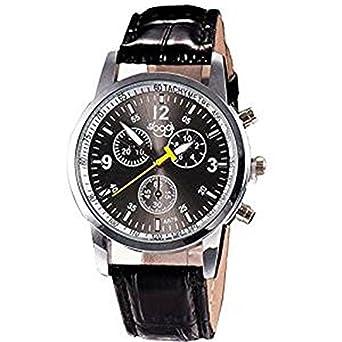 Angelof Montre Homme Bracelet Luxe ConnectéE Montre Ado Garcon Montre Quartz Montre Bracelet Cuir (Noir