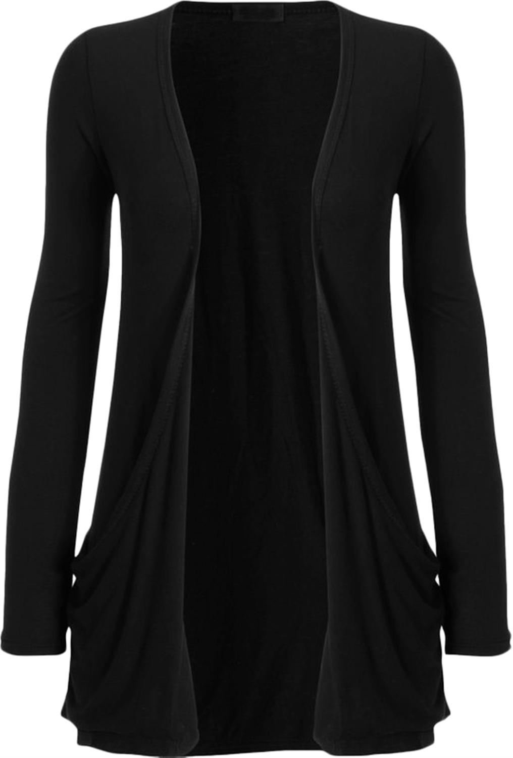 Clothes Ladies Women Boyfriend Open Cardigan Pockets (L-XL, Black)