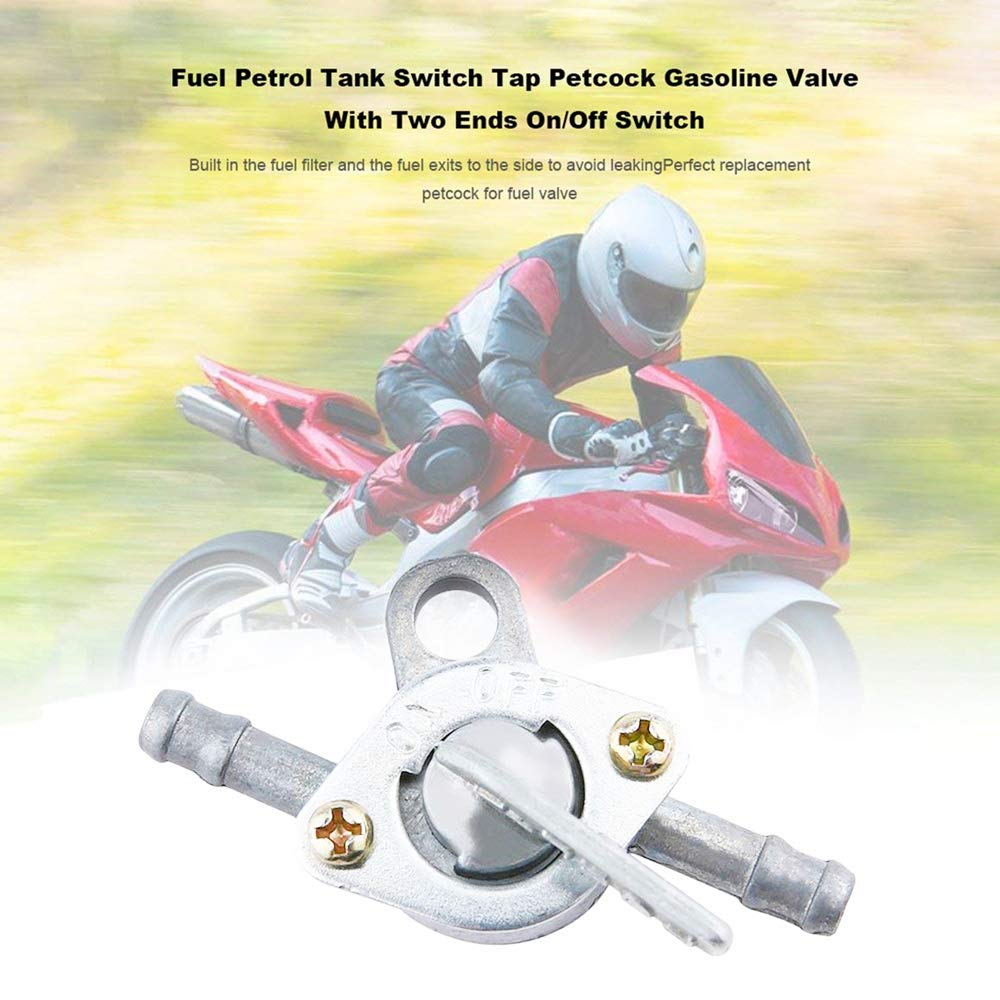 plateado 4 unidades de v/álvula de gasolina para tanque de combustible de gasolina con dos extremos de interruptor de encendido//apagado para motocicleta de campo transversal ATV Moped