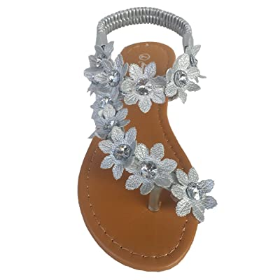 Elegant Women's Fashion Silver Color Hawaiian Flowers Gladiator Flat Sandals