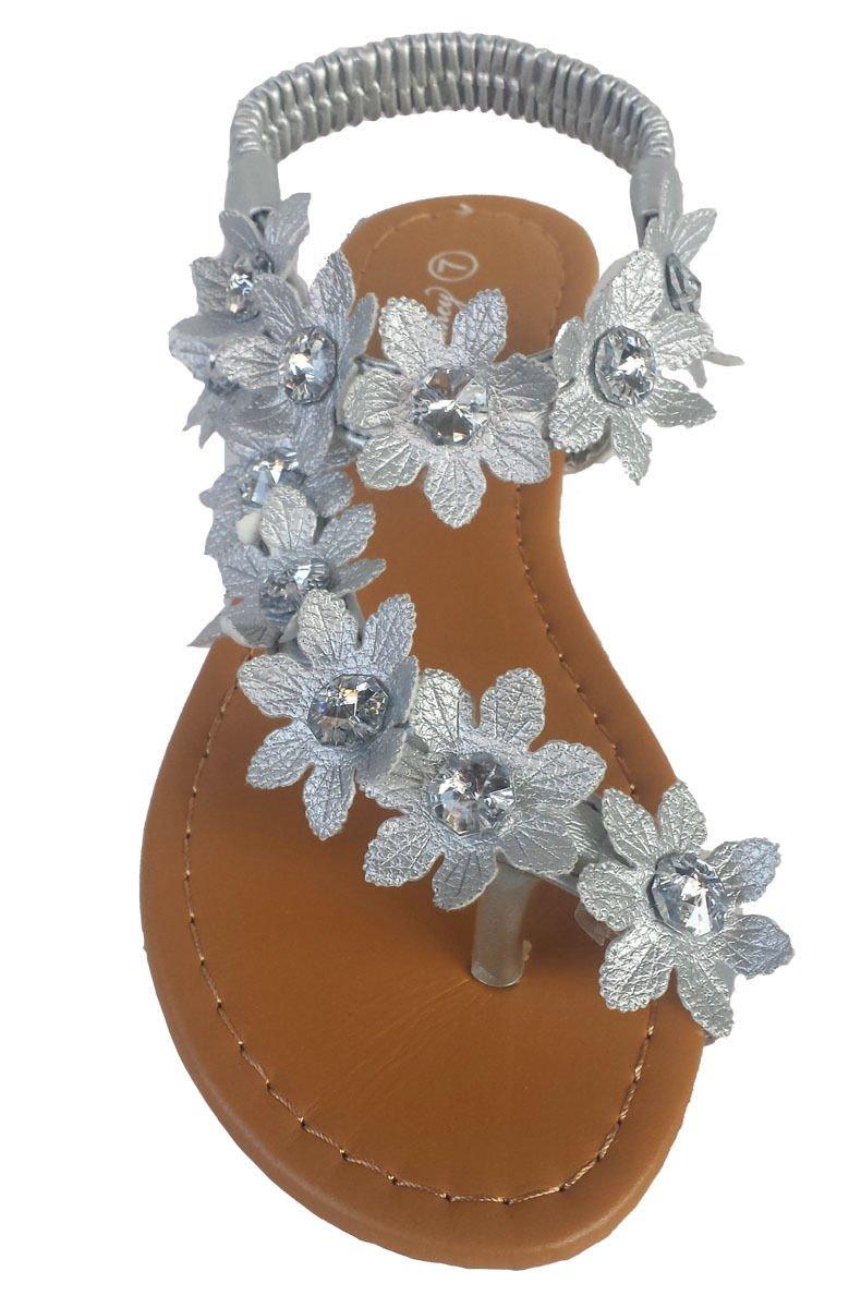 J.J. Elegant Women's Fashion Silver Color Hawaiian Flowers Gladiator Flat Sandals Silver 5, M US