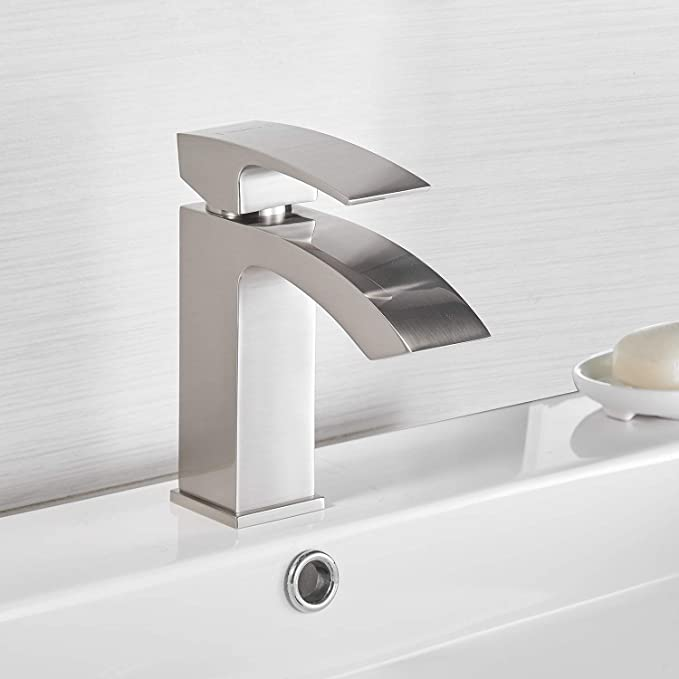 Sagetta Single Handle Waterfall Bathroom Vanity Sink Faucet With Extra Large Rectangular Spout Brushed Nickel Amazon Com