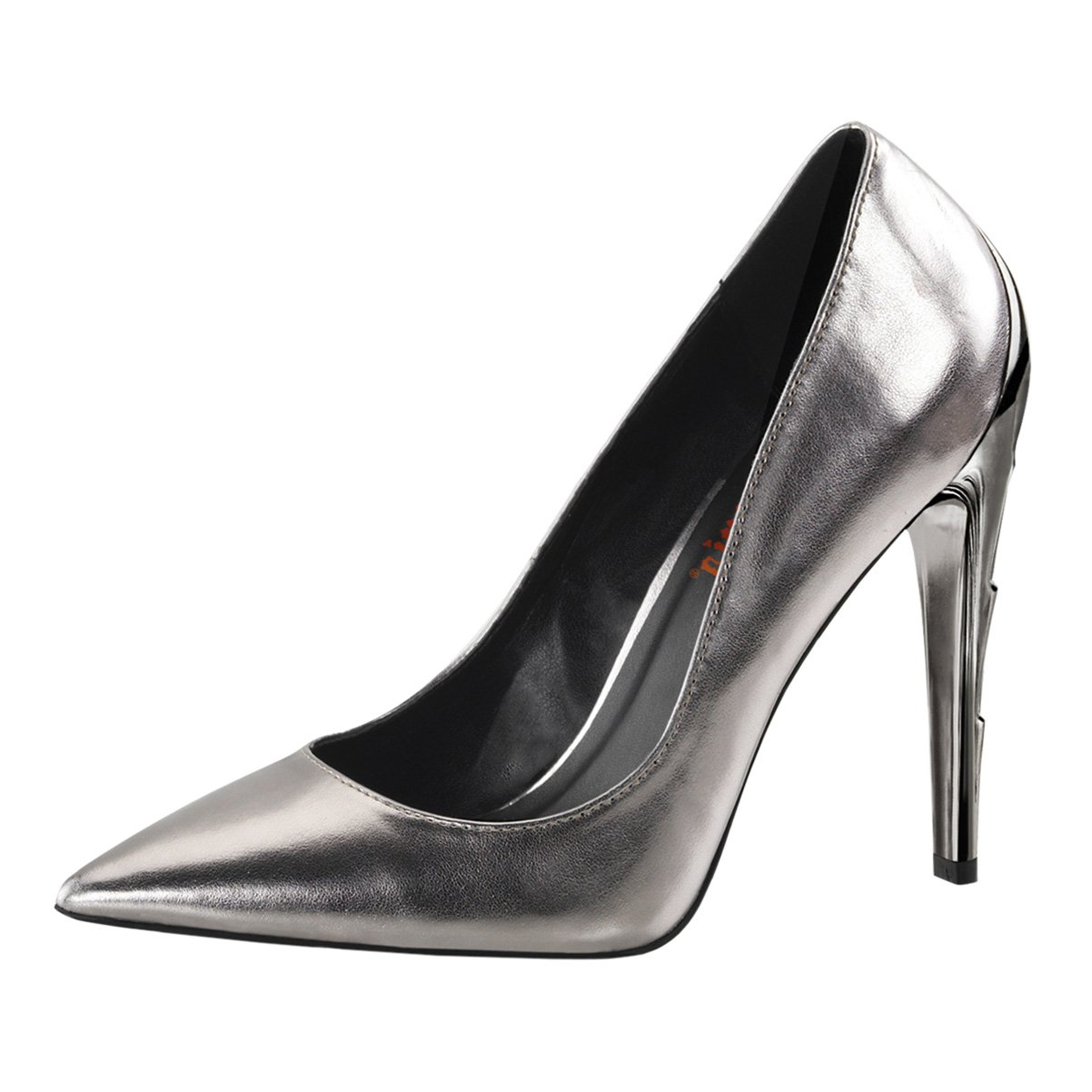 Womens Pointed Toe Heels Pewter Pumps Lightning Bolt Shoes 4 1//2 Inch Heels