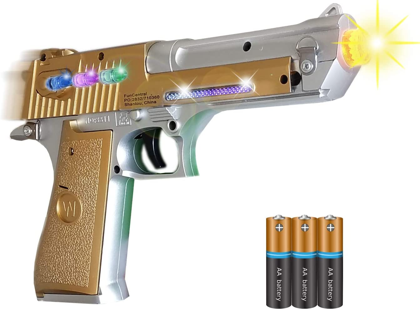 Flashing LED with Sounds Effects Mozlly Revolver Space Handgun Toy Set of 2